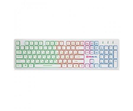 Клавиатура REAL-EL 7070 Comfort Backlit, white
