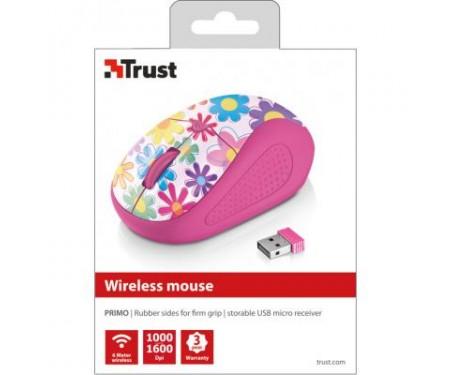 Мышь Trust Primo Wireless Mouse - pink flowers (21481)