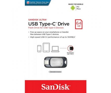 Флешка SANDISK 64GB Ultra Type C USB 3.1 (SDCZ450-064G-G46)