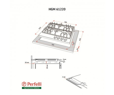 Варочная поверхность Perfelli HGM 61220 WH