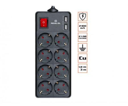 Фильтр питания REAL-EL RS-8 PROTECT USB 1.8m черный UAH