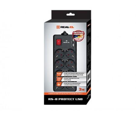 Фильтр питания REAL-EL RS-8 PROTECT USB 3.0m черный UAH