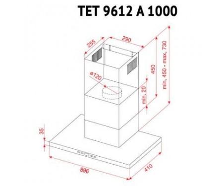 Вытяжка Perfelli TET 9612 A 1000 BL LED