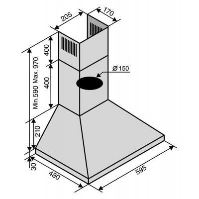 Вытяжка Ventolux MILANO 60 Inox (1000) PB