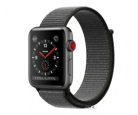 Apple Watch Series 3 GPS + Cellular 42mm Space Gray Case w. Black Sport L. (MRQF2)