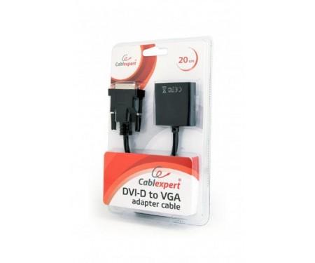 Адаптер Cablexpert (AB-DVID-VGAF-01) DVI-D-VGA, 0.2 м, черный