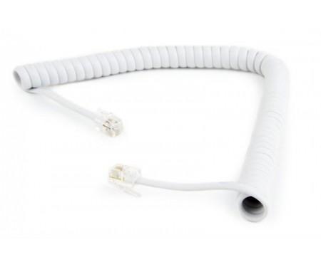 Кабель телефонный Cablexpert (TC4P4CS-2M-W) спиральный, CCS, 4P4C, 2м, белый