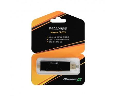 Кардридер Grand-X OTG TypeC+USB3.0 (CR-575)