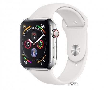 Apple Watch Series 4 (GPS + Cellular) 44mm Stainless Steel Case with White Sport Band (MTV22)