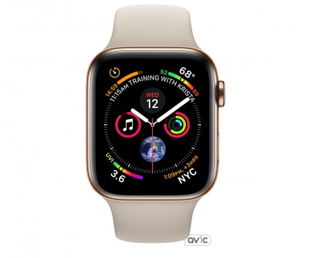 Apple Watch Series 4 (GPS + Cellular) 44mm Gold Stainless Steel Case with Stone Sport Band (MTV72)