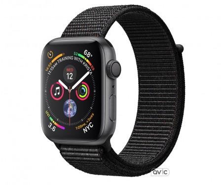 Apple Watch Series 4 (GPS + Cellular) 40mm Space Gray Aluminum Case with Black Sport Loop (MTUH2)