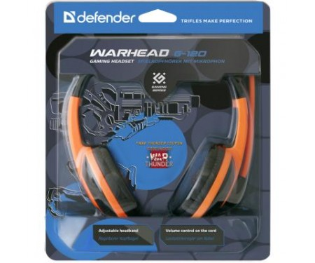 Наушники Warhead G-120 Black-Orange Defender (64099)