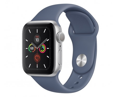 Apple Watch Series 5 (GPS) 40mm Silver Aluminum Case with Sport Band Alaskan Blue (MWPT2) 1