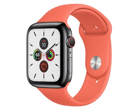 Apple Watch Series 5 LTE 40mm Space Black Stainless Steel Case with Sport Band Clementine