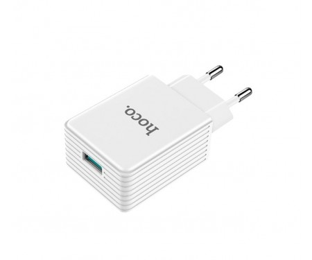 Сетевое зарядное устройство Hoco C34A Platium QC 3.0A 1 USB White