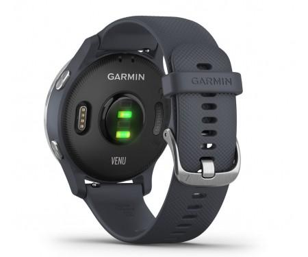 Смарт-часы Garmin Venu Silver Stainless Steel Bezel w. Granite Blue and Silicone B. (010-02173-01)