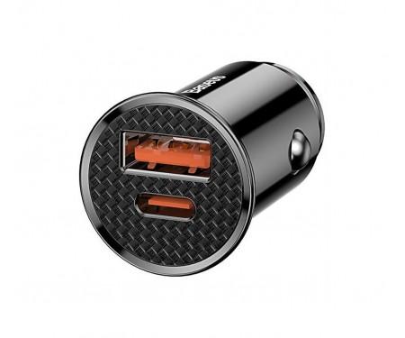 Автомобильное зарядное устройство Baseus Circular Plastic PD3.0 QC 4.0 + 30W USB + Type-C (black)