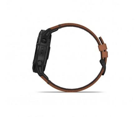 GARMIN Fenix 6X Pro Sapphire Black DLC with Chestnut Leather Band (010-02157-14/13)