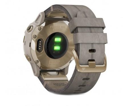 Спортивные часы Garmin Fenix 6S Pro Sapphire Light Gold with Shale Grey Leather Band (010-02159-40)
