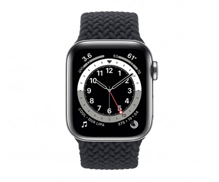 Apple Watch Series 6 GPS + Cellular 40mm Silver Stainless Steel Case w. Charcoal Braided Solo Loop (M0DC3/M0DV3)