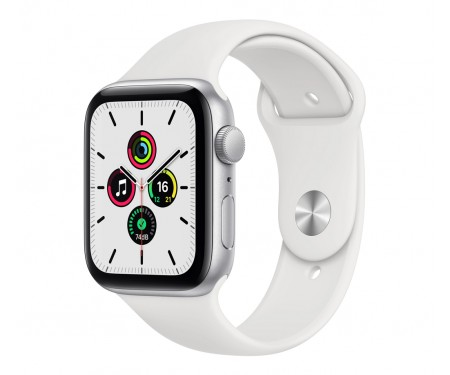 Apple Watch SE GPS + Cellular 44mm Silver Aluminum Case with White Sport B. (MYEM2) 1