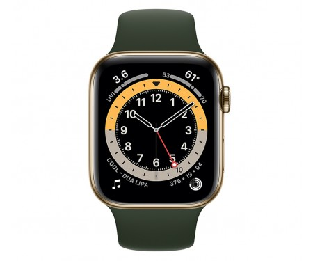 Apple Watch Series 6 GPS + Cellular 40mm Gold Stainless Steel Case w. Cyprus Green Sport B. (M02W3/M06V3) 2