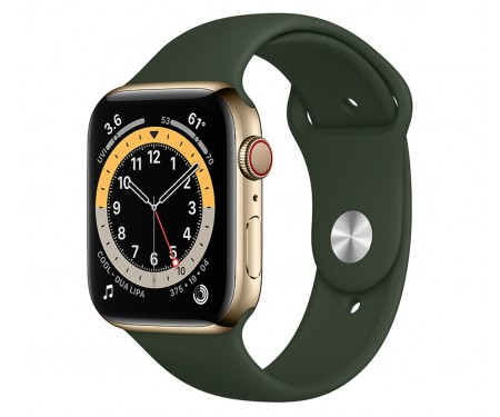 Apple Watch Series 6 GPS + Cellular 40mm Gold Stainless Steel Case w. Cyprus Green Sport B. (M02W3/M06V3) 1
