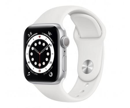 Apple Watch Series 6 GPS + Cellular 40mm Silver Aluminum Case w. White Sport B. (M02N3) 1