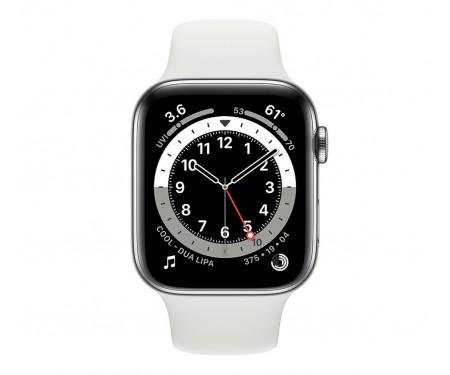 Apple Watch Series 6 GPS + Cellular 40mm Silver Stainless Steel Case w. White Sport B. (M02U3/M06T3) 2