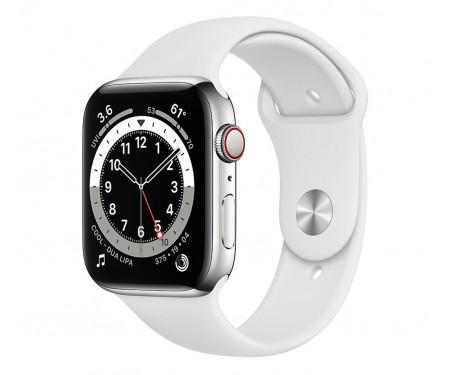 Apple Watch Series 6 GPS + Cellular 40mm Silver Stainless Steel Case w. White Sport B. (M02U3/M06T3) 1