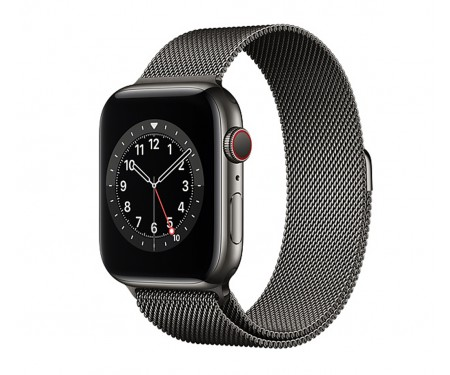 Apple Watch Series 6 GPS + Cellular 44mm Graphite Stainless Steel Case with Graphite Milanese Loop (M07R3/M09J3) 1