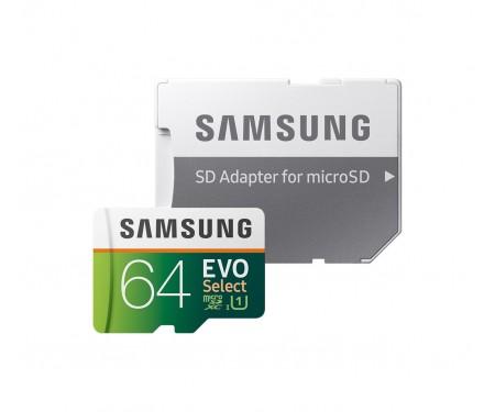 Карта памяти Samsung EVO Select microSDXC UHS-I U3 64Gb + SD-adapter (MB-ME64HA)
