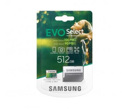 Карта памяти Samsung EVO Select microSDXC UHS-I U3 512Gb + SD-adapter (MB-ME512HA)