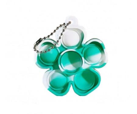 Игрушка-антистресс Pop it Keychain Flower Green/White