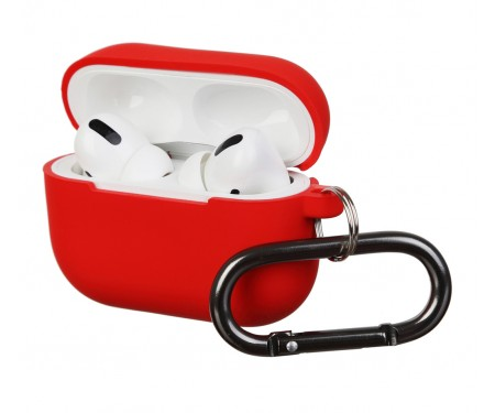 Чехол для Airpods Pro Silicon with hook Red