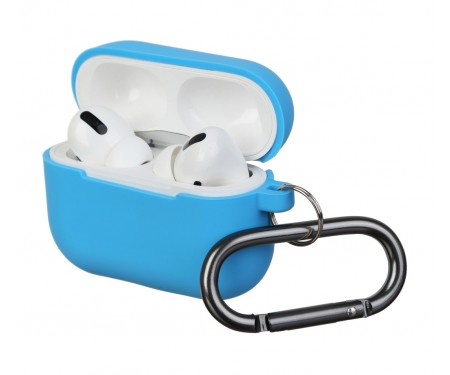 Чехол для Airpods Pro Silicon with hook Blue