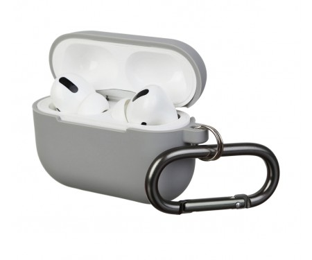 Чехол для Airpods Pro Silicon with hook Light Grey