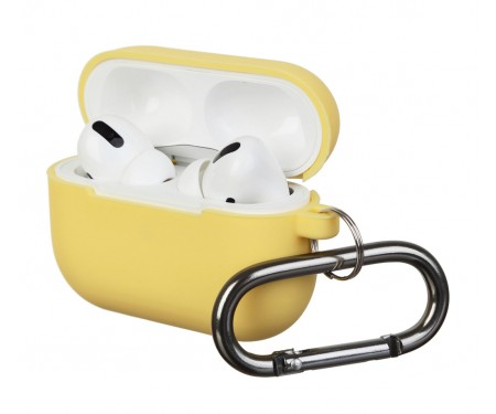 Чехол для Airpods Pro Silicon with hook Yellow
