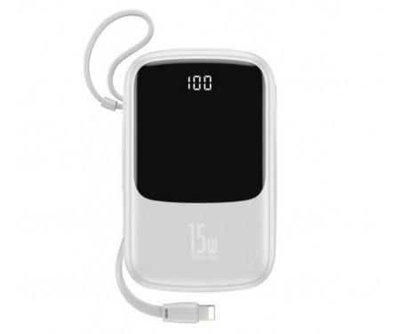 Power Bank Baseus Q pow Digital Display 3A 10000mAh (With Type-C) / White (PPQD-A02)
