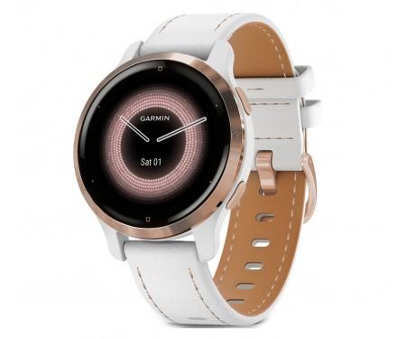 Смарт-часы Garmin Venu 2S Rose Gold with White Leather Band (010-02429-23)
