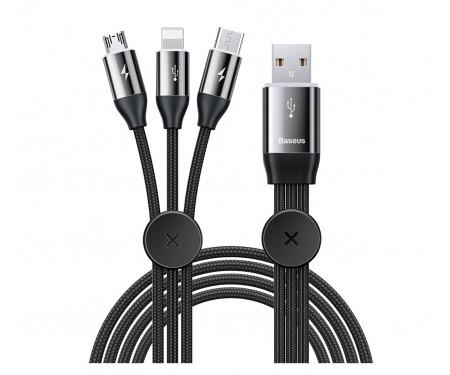 Кабель Baseus USB Cable Car Co-Sharing 3in1 Type-C/Lightning/MicroUSB 1m Black (CAMLT-FX01)